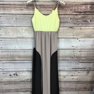 Lulus Small Maxi Dress Tan Black Yellow